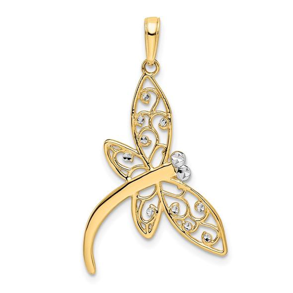 14k Yellow Gold and White Rhodium Diamond-cut Filigree Dragonfly Pendant