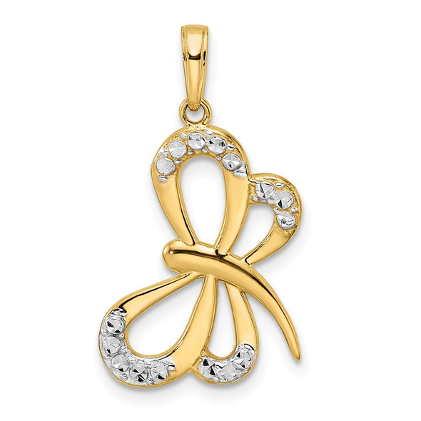 14k Yellow Gold and White Rhodium Diamond-cut Dragonfly Pendant M2913