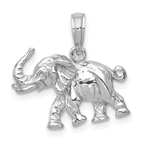 14k White Gold Polished 3-D Elephant Pendant