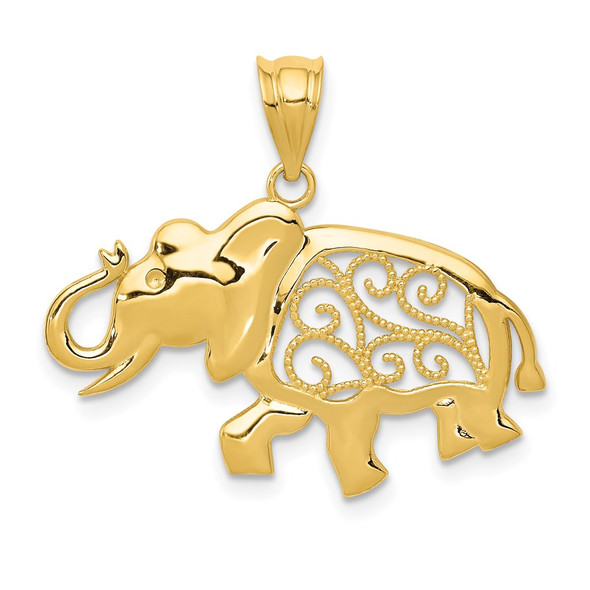 14k Yellow Gold Filigree Elephant Pendant