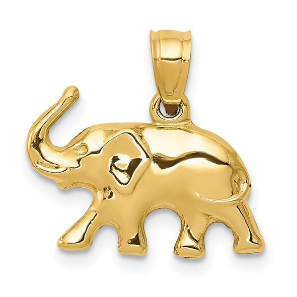 14k Yellow Gold 3-D Elephant Pendant
