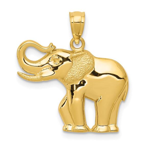 14k Yellow Gold Polished and Satin Elephant Pendant
