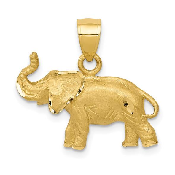 14k Yellow Gold Diamond-Cut Elephant Pendant