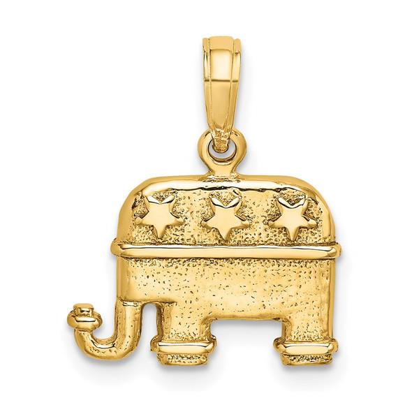 14k Yellow Gold 3-D Textured Republican Elephant Pendant