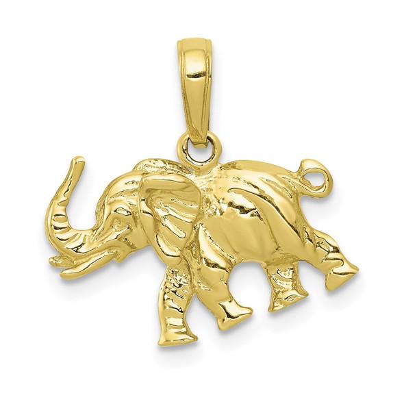 10k Yellow Gold Satin 3-D Elephant Pendant
