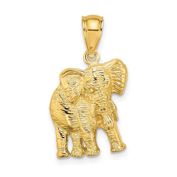 14k Yellow Gold 2-D Elephant w/Raised Trunk Pendant