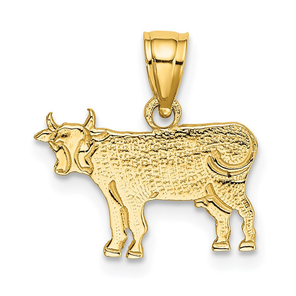 14k Yellow Gold Flat and Engraved Cow Pendant