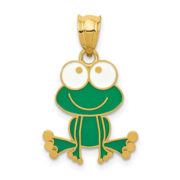 14k Yellow Gold Green and White Enameled Frog Pendant