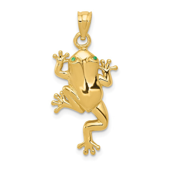 14k Yellow Gold Frog w/Enameled Eyes Pendant