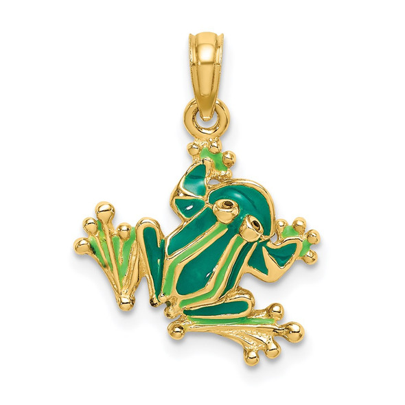 14k Yellow Gold Green Enameled 2-D Small Frog Pendant