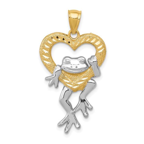 14k Yellow Gold And Rhodium Diamond-Cut Frog In Heart Pendant