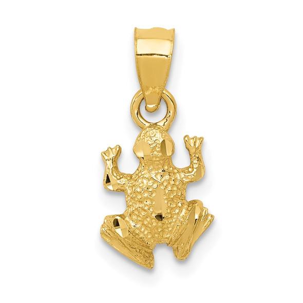 14k Yellow Gold Diamond-Cut Frog Pendant