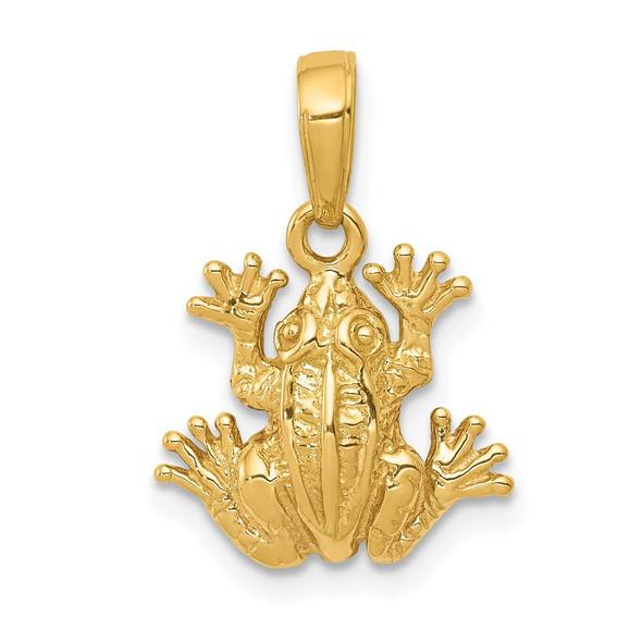 14k Yellow Gold 2-D Frog Pendant