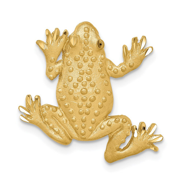 14k Yellow Gold Brushed and Diamond-cut Textured Frog Slide Pendant
