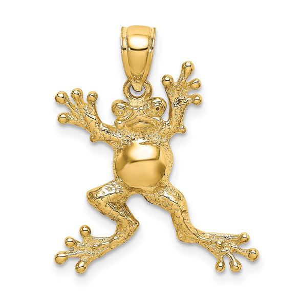 14k Yellow Gold 2-D Frog w/Potbelly Pendant