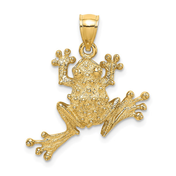 14k Yellow Gold 2-D Textured Frog Pendant K6552