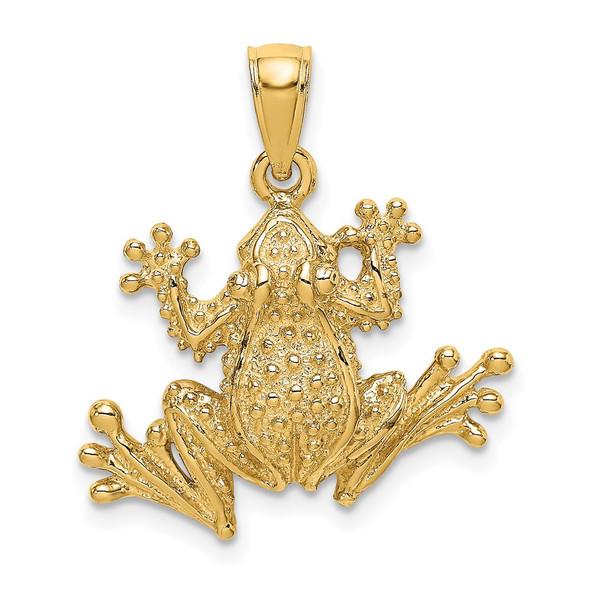 14k Yellow Gold 2-D Textured Frog Pendant K6553