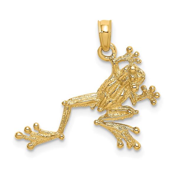 14k Yellow Gold 2-D Textured Frog Pendant K6481