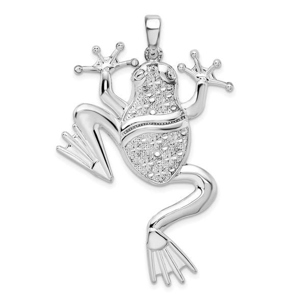 Sterling Silver Polished Large Frog Pendant
