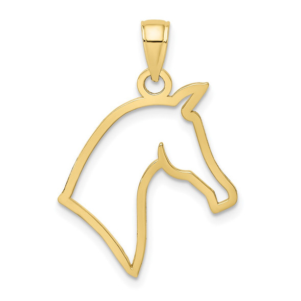 10k Yellow Gold Cut-Out Horse Head Profile Pendant