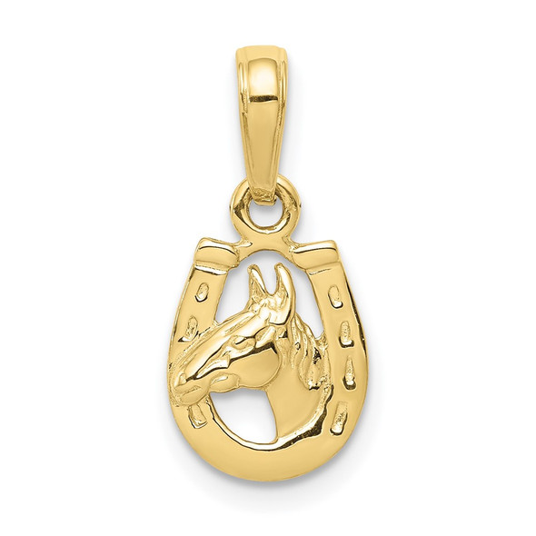 10k Yellow Gold Horse Head In Horseshoe Pendant