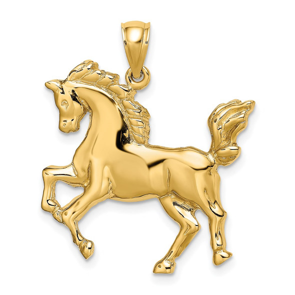 14k Yellow Gold 2-D Horse Pendant K6543
