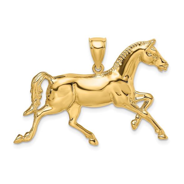 14k Yellow Gold 2-D Polished Horse Pendant K6538