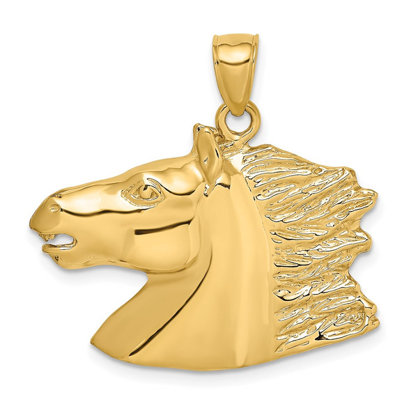 14k Yellow Gold 2-D Polished Horse Head Pendant