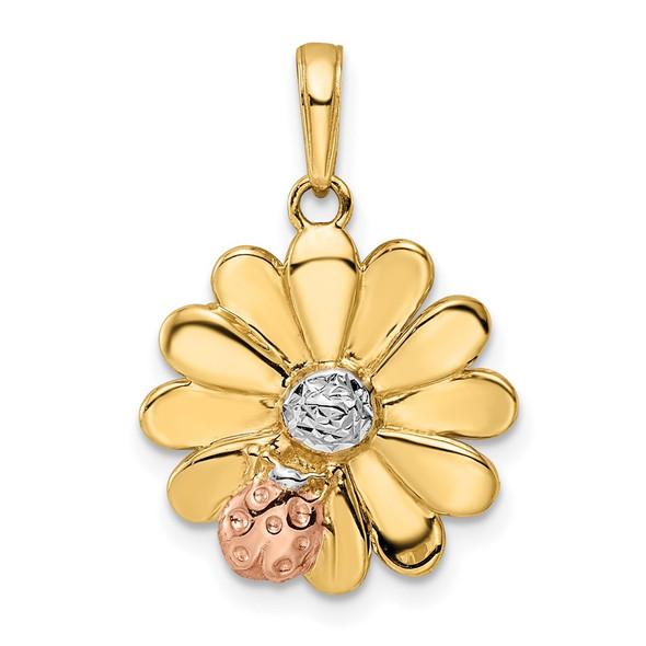 14k Yellow Gold w/ White and Pink Rhodium Diamond-cut Ladybug on Flower Pendant