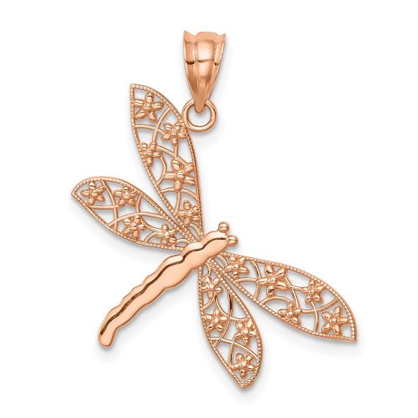 14k Rose Gold Polished Dragonfly Pendant