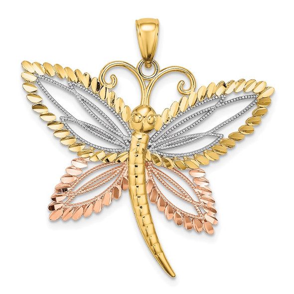14k Yellow and Rose Gold w/ Rhodium Dragonfly Beaded Diamond-cut Wings Pendant