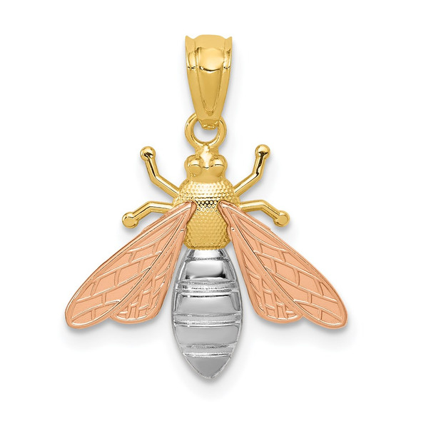14k Yellow and Rose Gold w/Rhodium Polished Bee Pendant