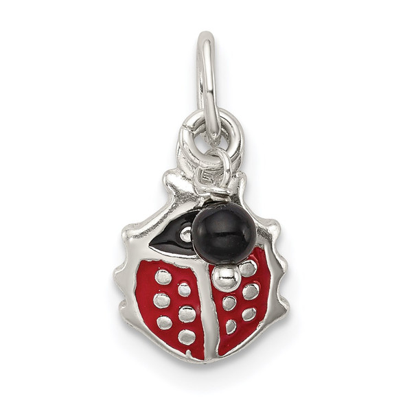 Sterling Silver Red Enameled Ladybug w/Bead Charm