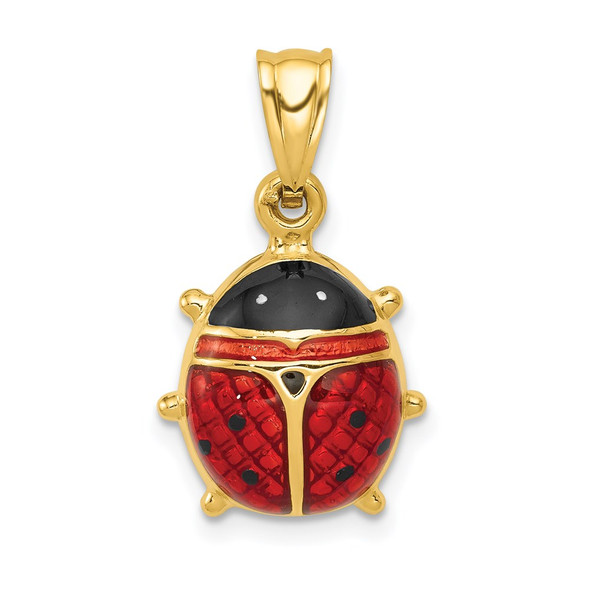 14k Yellow Gold Enameled Ladybug Pendant K261