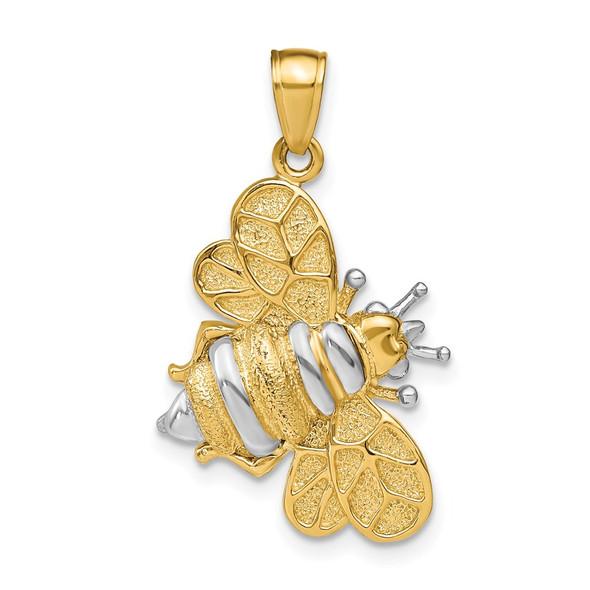 14k Yellow Gold And Rhodium 3-D Bumblebee Pendant