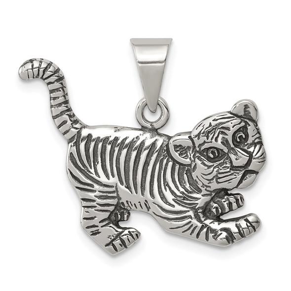 Sterling Silver Antiqued Tiger Pendant