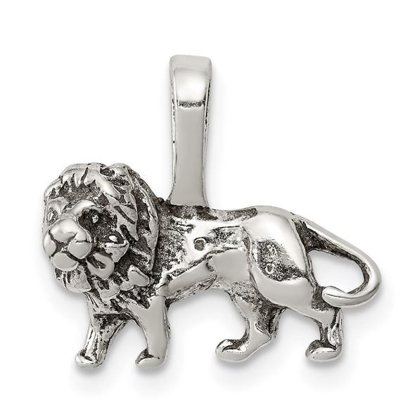 Sterling Silver Antiqued Lion Pendant QC7865