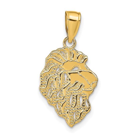 14k Yellow Gold Lion Head Pendant