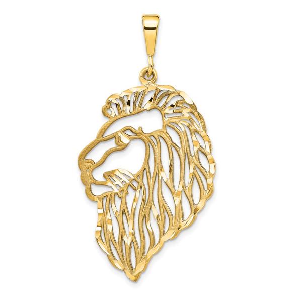 14k Yellow Gold Filigree Lions Head Pendant