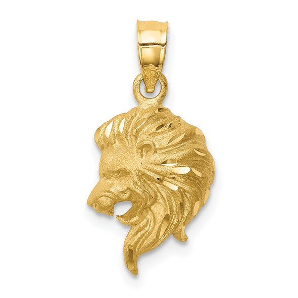 Mens 14k Yellow Gold Brushed and Diamond-cut Lion Head Pendant D4478