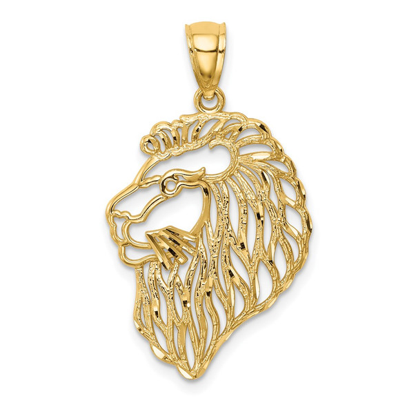Mens 14k Yellow Gold Diamond-Cut Lion Profile Pendant