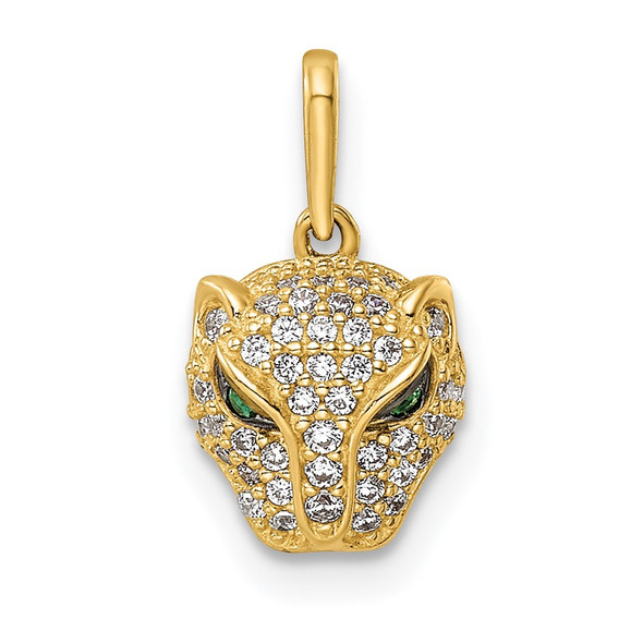 14k Yellow Gold Polished Green & White CZ Lioness Head Pendant