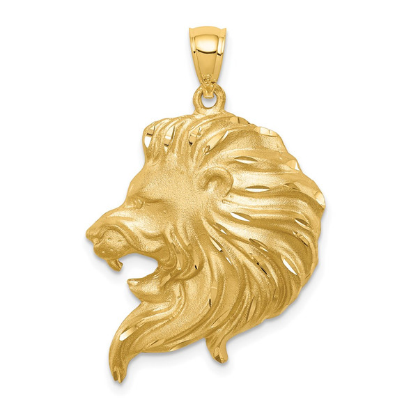 Mens 14k Yellow Gold Brushed and Shiny-Cut Lion Head Pendant D4480