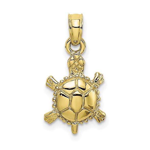 10k Yellow Gold 3-D Polished Land Turtle Pendant