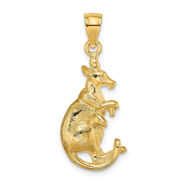 14k Yellow Gold 2-D Kangaroo With Baby In Pouch Pendant