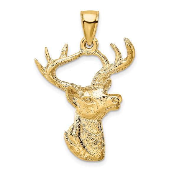 14k Yellow Gold 2-D Deer Head Profile Pendant