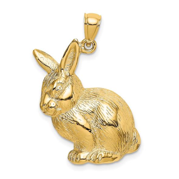 14k Yellow Gold 2-D Textured Sitting Rabbit Pendant