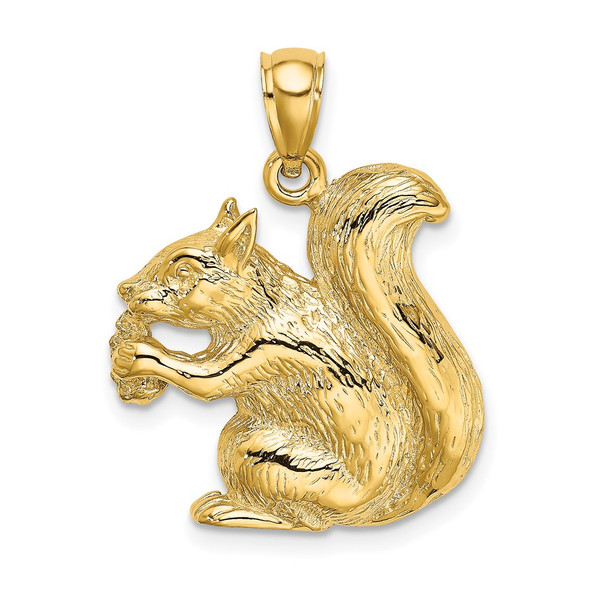 14k Yellow Gold 2-D Textured Sitting Squirrel Pendant