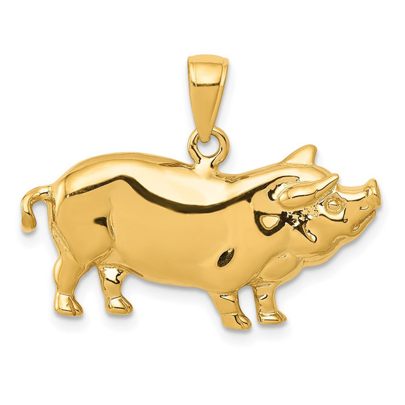 14k Yellow Gold Pot Belly Pig Pendant