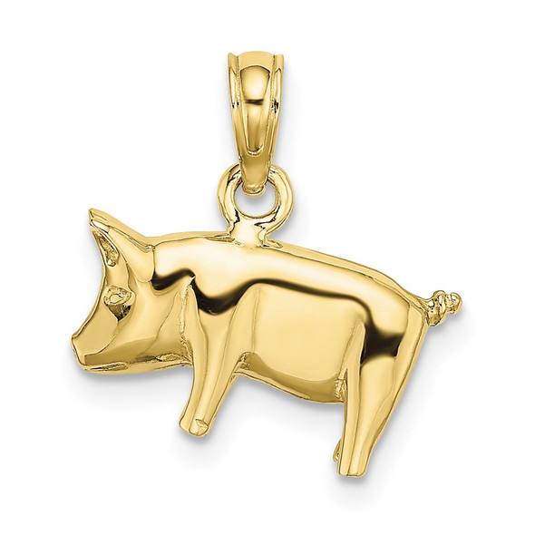 10k Yellow Gold 3-D Polished Pig With Curly Tail Pendant